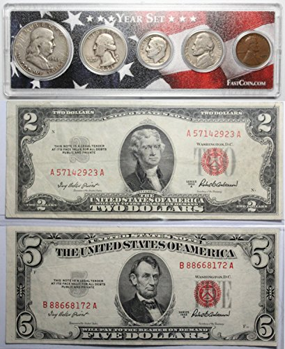 1953 Year Set with $2 & $5 Red Seal - States Seal Note Gold United