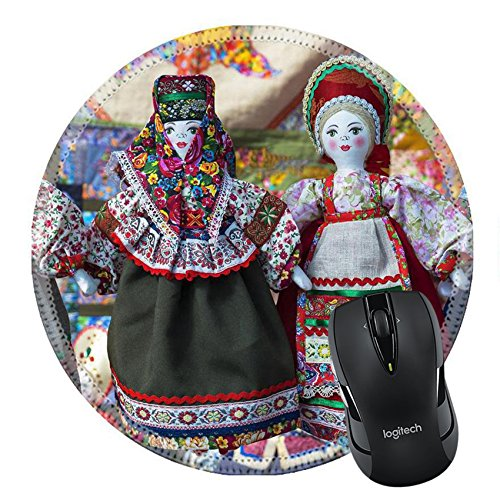 National Russian Costumes (MSD Natural Rubber Mousepad Round Mouse Pad/Mat: 35210251 linen doll in Russian national dress)