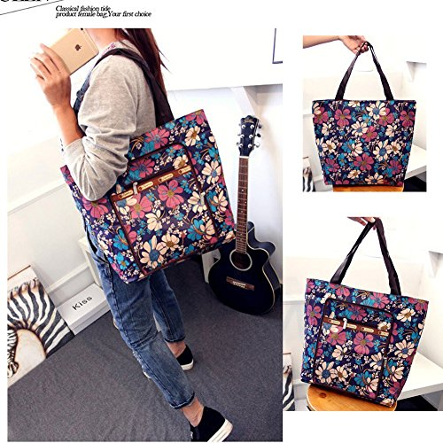 Foldable Handle Tote Rope Travel Purse AlleGt Shoulder Women Casual Blue Shopper Tribe Capacity Top Large Flowers PqIn5zwC