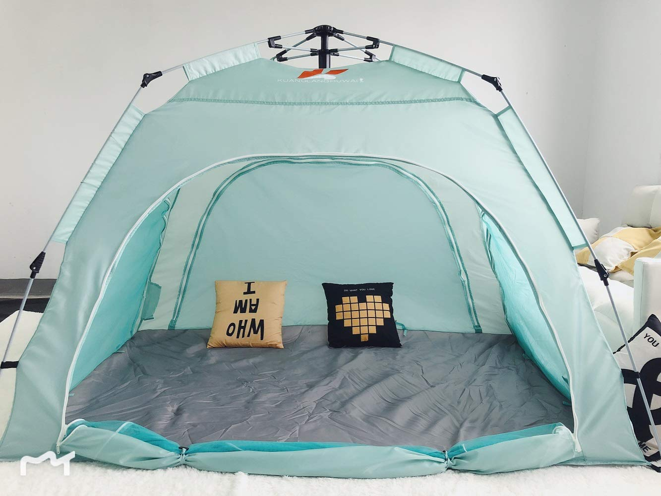Blue, King Size KUAN DANCHEL Indoor Automatic Pop-up Privacy Warm Tent for Bed