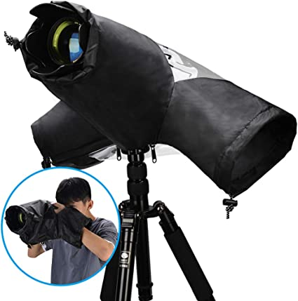 Suitable for Various Lenses Professional Camera Rain Cover for Canon Sony Nikon Fuji and Other Digital DSLR Cameras Made of High-Density Waterproof Nylon Material