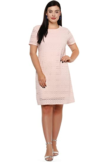 Pink Knee Length Dresses for Plus Size Women