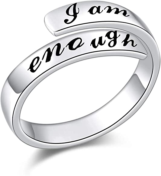 925 Sterling Silver Ring I Am Enough Adjustable Rings For Women Girls Amazon Co Uk Jewellery