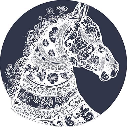 - Beautiful Artistic Black and White Floral Antique Design Silhouette Horse Head Cartoon Icon Vinyl Sticker