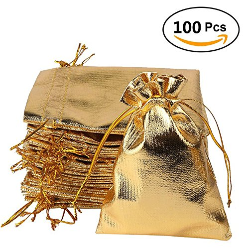 Sachet Gold (YUKUNTANG 100 Pcs Gold Drawstring Organza Bags Party Wedding Favor Gift Jewelry Bags 5x7 Inch Drawstring Pouches)