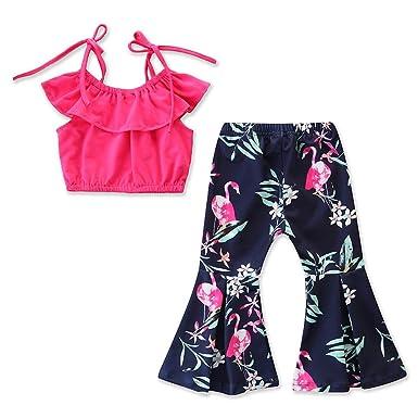 30f29ecc6f97b Tanhangguan 2Pcs Baby Girl Clothes Off The Shoulder Ruffles T-Shirt Top and  Floral Pants Outfits Clothes Sunsuit Set