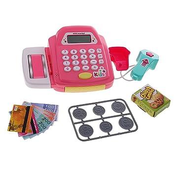 Amazon.es: MagiDeal Juego de Juguete Electrónica de Acción Realista de Contador Caja Registradora Color Azul/Rosado - Rosado: Juguetes y juegos