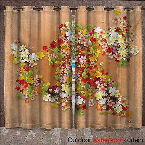 WilliamsDecor Floral Outdoor Balcony Privacy Curtain Summer Season Sale Banner with Paper Flowers and Black Frame Illustration W108 x L84(274cm x 214cm)