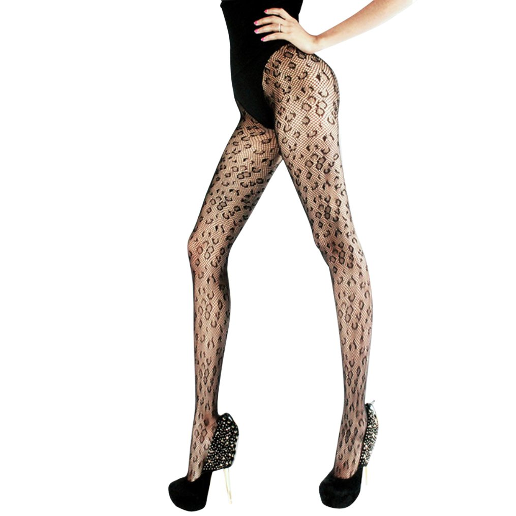 4a3c92c73 Amazon.com  Rosemarie Collections Women s Halloween Costume Leopard Print  Stockings Fishnet Tights (Large)  Clothing