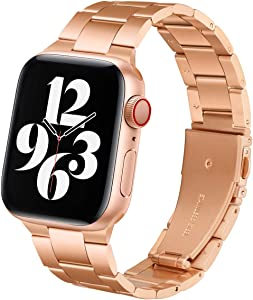 Steel Band Compatible with Apple Watch Bands 38mm 40mm, Business & Leisure Upgraded Stainless Steel Metal Solid Replacement Strap for iWatch Series 6/5/4/3/2/1 & SE Men and Women - Rose Gold
