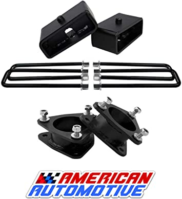 American Automotive 3.5 Silverado Sierra 1500 Carbon Steel Front Strut Leveling Lift Kit 2WD 4WD with Shock Extenders Road Fury Series