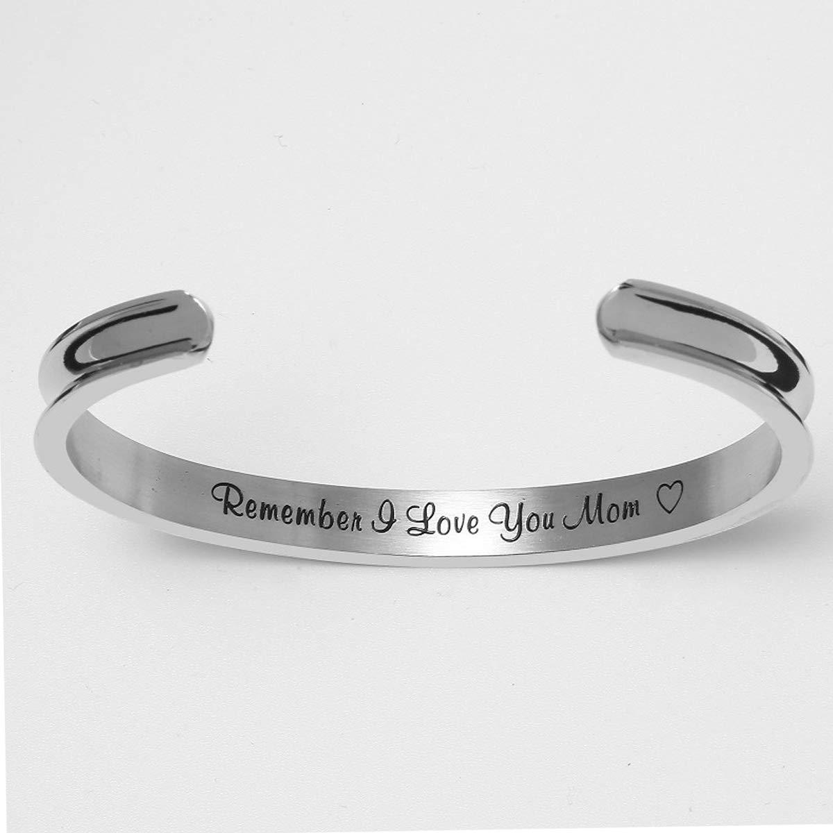 Vinca Mascot Cuff Bracelets Remember I Love You Mom Bangle Stainless Steel Engraved Women Jewelry for Mom Grandma