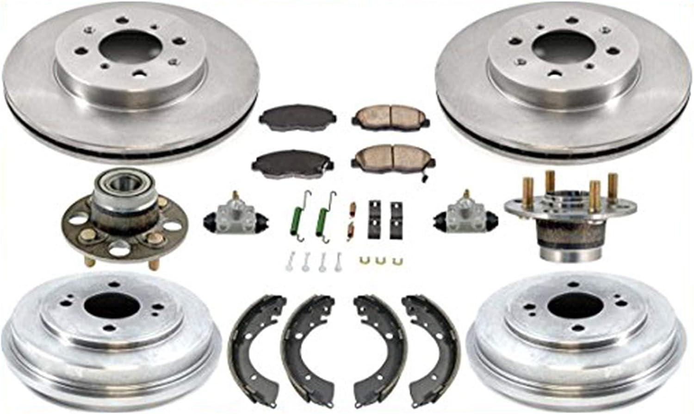 01-05 Civic Rotors Ceramic Pads Drum Brake Shoes Springs Wheel Cylinders 9Pc