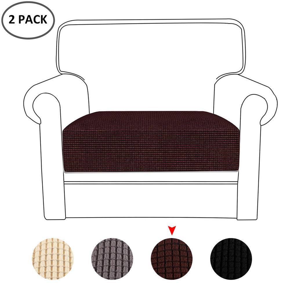 miuline 2pcs Sofa Cushion Covers Furniture Protector Stretchy Spandex Polyester Fabric Couch Seat Cover Protector 2pcs Beige, 1 Seat