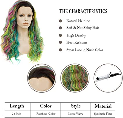 Imstyle Pelucas sintéticas de encaje frontal multicolor para mujer