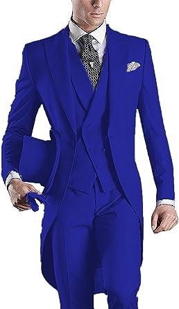 YSMO Herren Slim fit 3 Stück Frack One Button Suit Jacke & Weste & Hose Prom Hochzeit Blazer