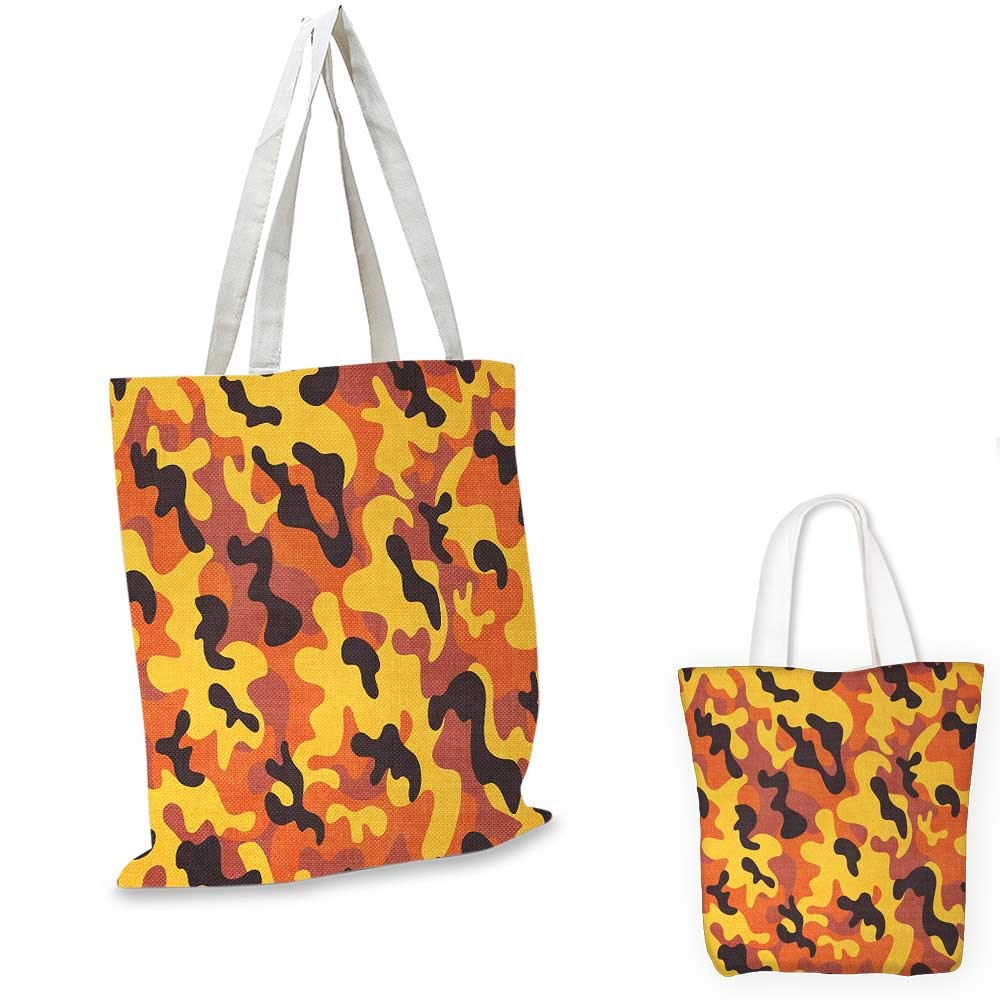 12x15-10 Camo canvas messenger bag Lively Colors Retro Style Camouflage Texture Modern Print Illustration canvas beach bag Yellow Orange Dried Rose