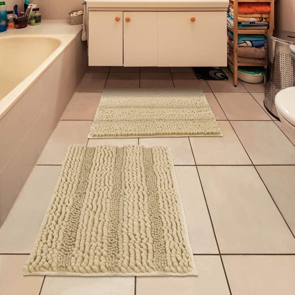 IM Home Striped Beige Bathroom Rug Set 2 Pieces Extra Soft, Non Slip Chenille Bath Rugs Machine Washable, Absorbent Plush Shaggy Bath Mats for Bathroom, Bedroom, Tub, Toilet, Shower