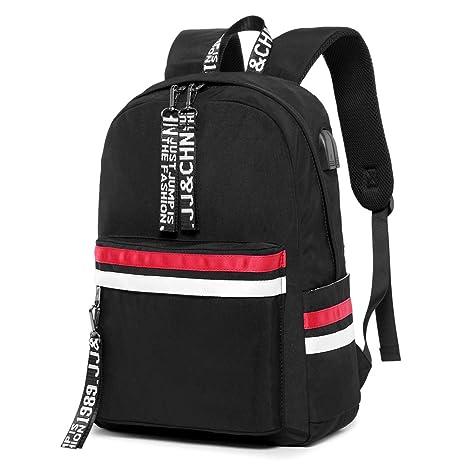 super popolare 9c0f4 5505d Zaino Donna, Backpack Zaino Casual Unisex Zaino Scuola Zaino Ragazza con  USB per Campeggio da Viaggio all'Aperto Nero