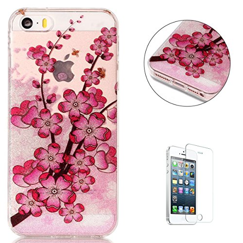 iPhone 5/5S/SE Case Clear, KaseHom Shining Flash Powder Rubber Cover + [Free Screen Protector] See Thorough Bling Pattern Design Soft TPU Gel Skin Transparent Shockproof Shell - Plum Blossom