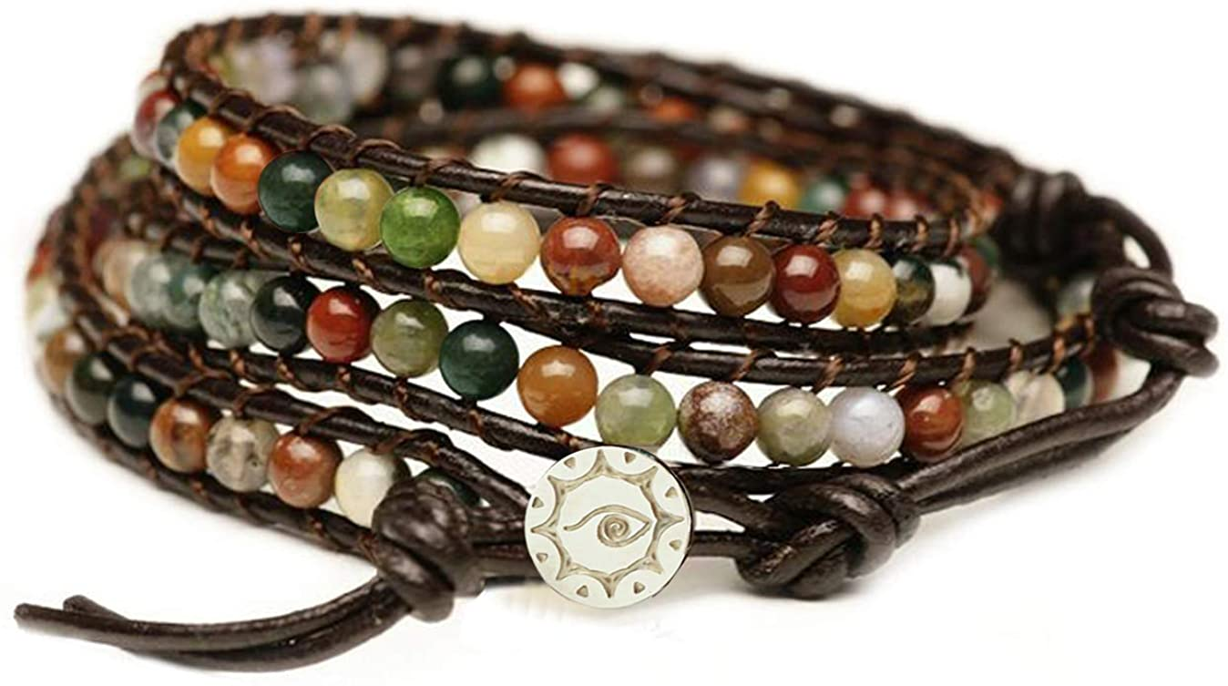 """BLUEYES COLLECTION """"Hot Mix Color India Agate Stainless Steel Snap Button Lock Genuine Leather Bracelet: Jewelry"""