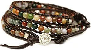 """BLUEYES COLLECTION """"Hot Mix Color India Agate Stainless Steel Snap Button Lock Genuine Leather Bracelet"""