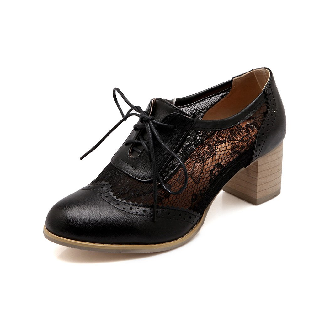 Lucksender Womens Round Toe Lace up Mesh &Lace Fashion Oxford Shoes 9B(M) US Black