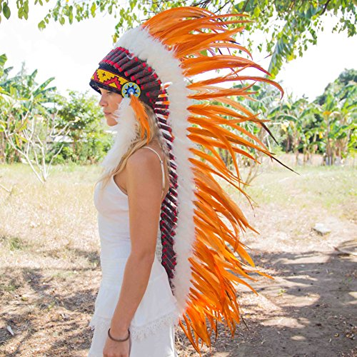Indian Style Headdress | Native American Style Headdress | XL Feathers | Orange (Feathered Headdress)