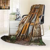 YOYI-HOME Season Duplex Printed Blanket for Bed Or Couch Rustic Damaged Shabby House with Boarded Up Rusty Doors and Mold Windows Multi Warm Microfiber/W47 x H31.5