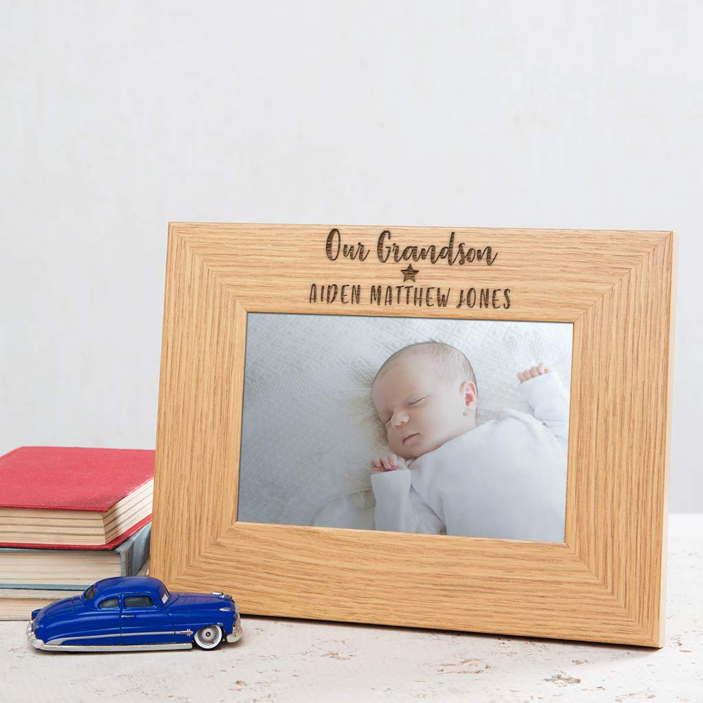Personalized Our Grandson Picture Frame 4x6 7x5 8x6 available Grandson Gifts From Grandma Grandpa Grandparents for Birthday Baptism Unique Engraved Oak Veneer