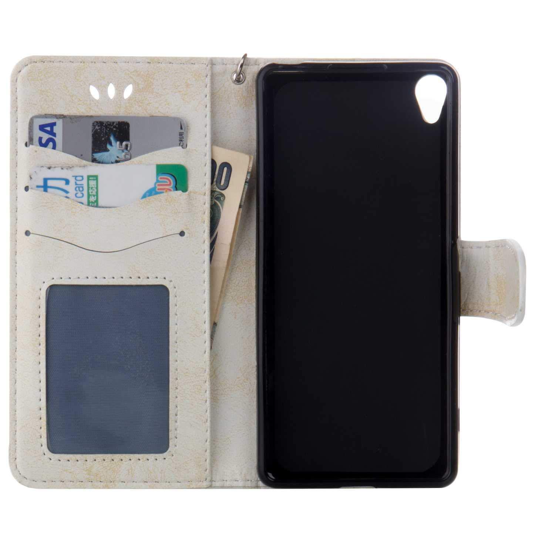 Bear Village/® Coque Sony Xperia XA Anti Rayures Portefeuille Coque avec Emplacements pour Cartes Housse /à Rabat en Cuir pour Sony Xperia XA Blanc