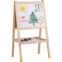 Entweg Art Easel para Niños, Madera Art Easel Pizarra Magnética de Doble Cara Y Pizarra de Borrado En Seco Caballete de Pie Fácil de Montar Con Estante de Almacenamiento Y Accesorios Gran Regalo para Niños Niñas Y Niños