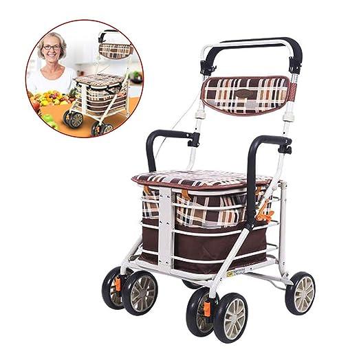SHOW-WF Aluminio Andador para Ancianos de 4 Ruedas Plegable ...