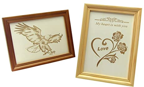 Amazon.com - Set of 2 Wood Photo Picture Frames (Rose & Eagle ...