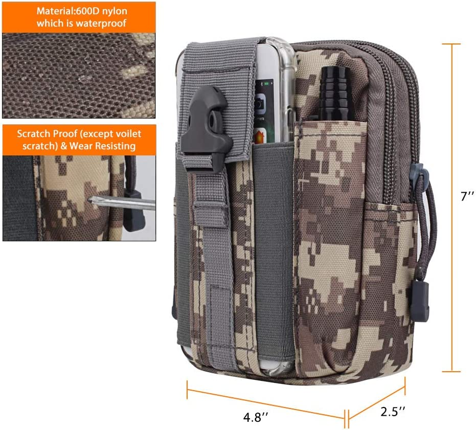 AIRSSON Universal Tactical Molle Pouch EDC//EMT Gear Tool Gadget Belt Outdoor Waist Bag Pocket Organizer with Cell Phone Holster for iPhone X Samsung S8 /& Less Than 6.2 Smartphone+Carabiner ACU