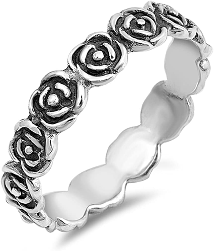 925 Sterling Silver Daisy Chain Flower Band thumb Ring Jewellery Various Sizes