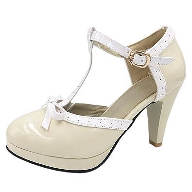 TAOFFEN Damen Retro Low Heel Sandalen Pumps Schuhe