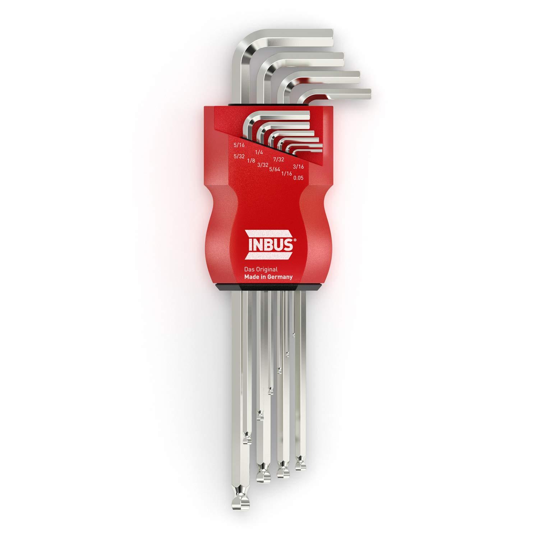 INBUS® 70419 Inbusschlüssel Zoll Set mit Kugelkopf 10tlg. 0.05-5/16' | Made in Germany | Innensechskant-Schlüssel | Winkel-Schlüssel | 0.05 | 1/16 | 5/64 | 3/32 | 1/8 | 5/32 | 3/16 | 7/32 | 1/4 | 5/16 | Inch | Imperial | Zöllige Gr&