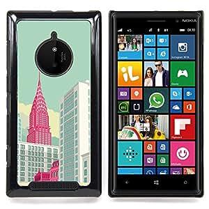 FOR Nokia Lumia 830 Queen Pattern - New York Empire Building Art Poster - Doble capa de armadura de la cubierta del caso del protector -