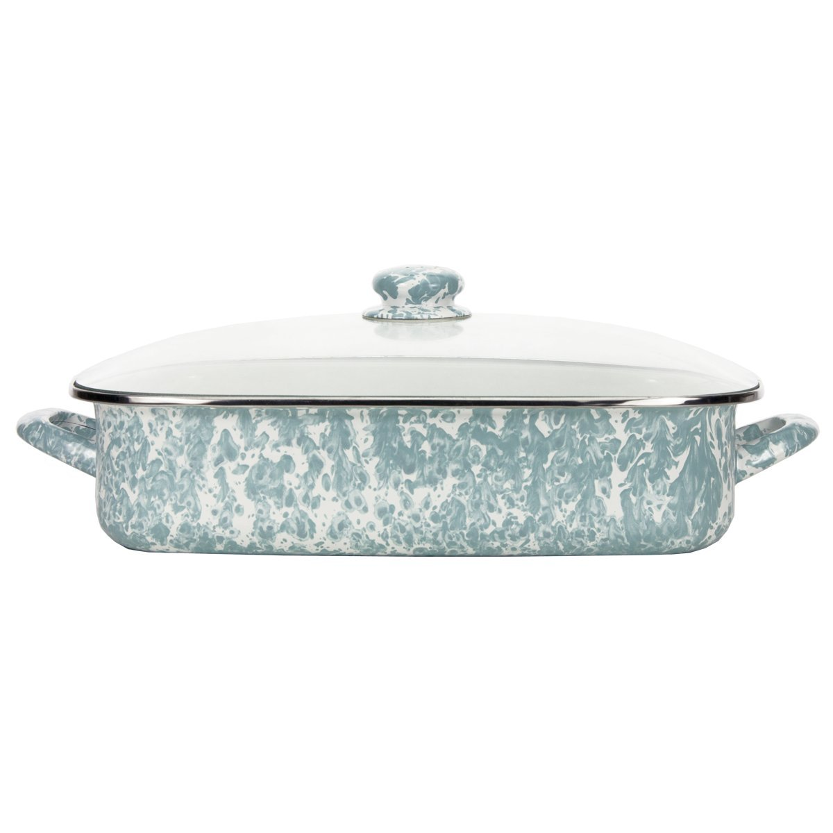Enamelware -Sea Glass Teal Swirl Pattern -16 x 12.5 x 4 Inch Lasagna Pan Set