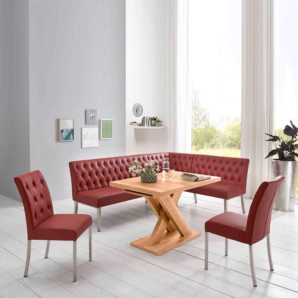 Pharao19 Küchen Sitzgruppe in Rot und Eiche Honigfarben Eckbank