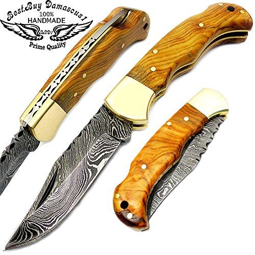 Beautifull Olive Wood 6.5'' Handmade Damascus Steel Folding Pocket Knife
