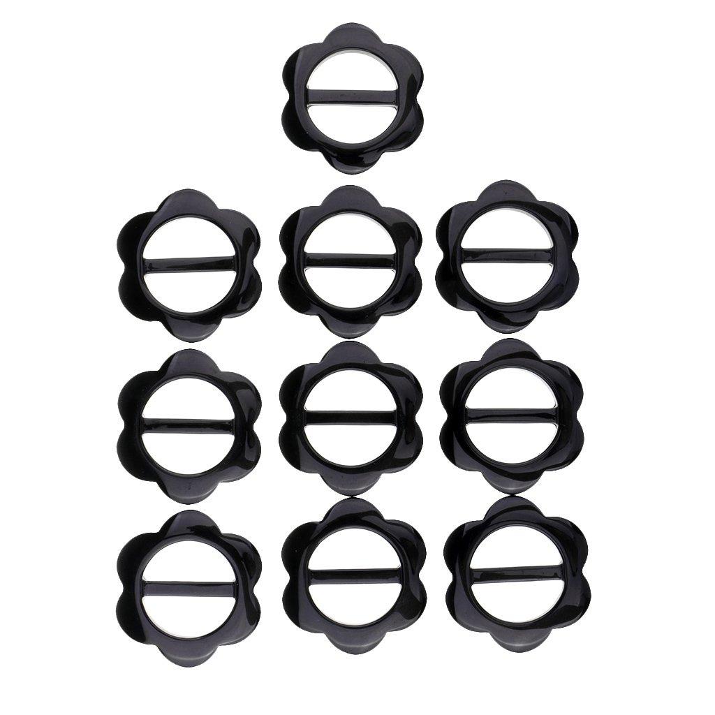 SM SunniMix 10 Pieces Flower Shape Women Fashion Scarf Clasp Clip Ring Scarf Slides T-Shirt Clips Black 3