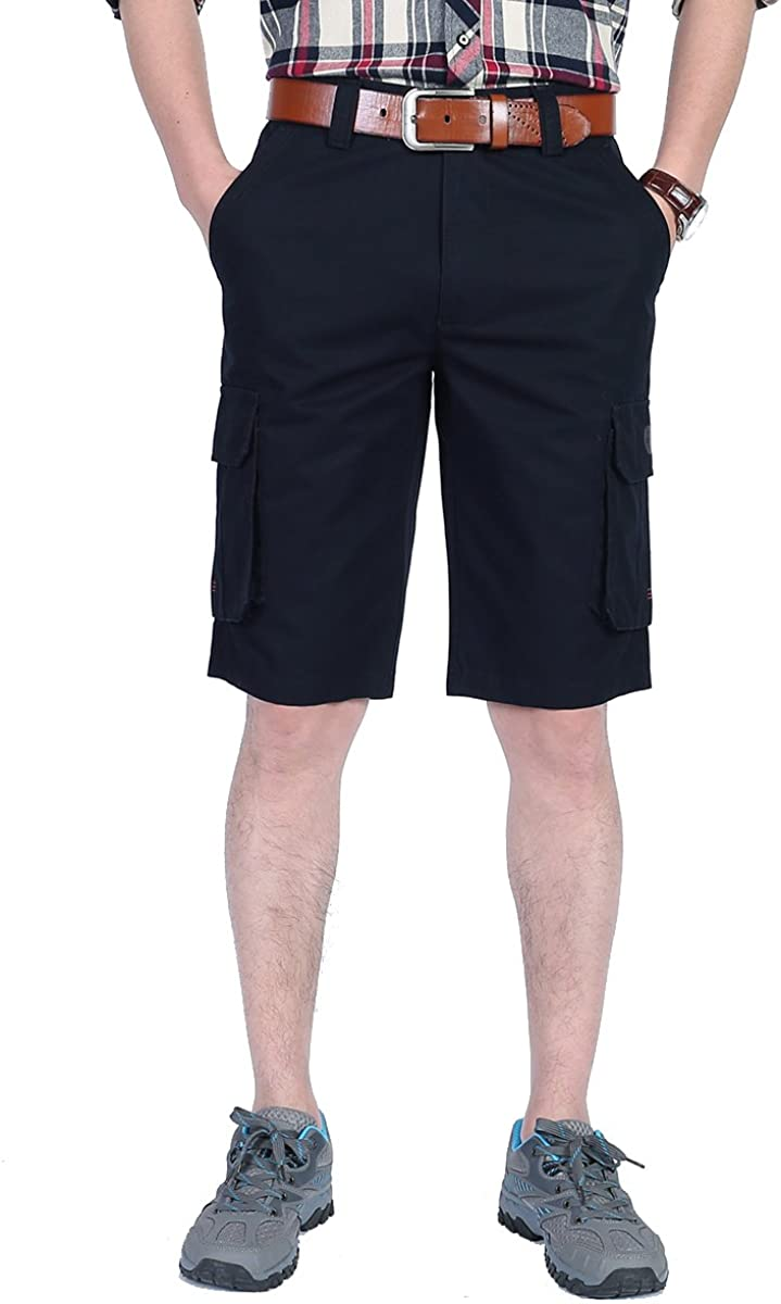 ONEKE Cargo Shorts for Men Fashion Cotton Multi Pockets Casual Cargo Work Tooling Short