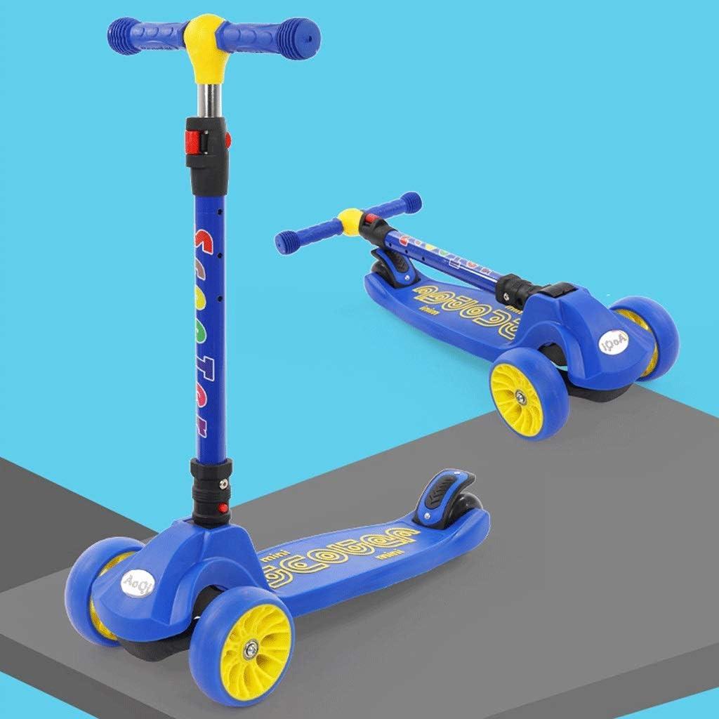 KOBOOW Mini Micro Deluxe Patinete 3 Ruedas Scooter para Niños Plegable De Oscilación Reductor para Niños con Freno Manillar Ajustable Carga 100kg 1-12 Años (Color : Blue)