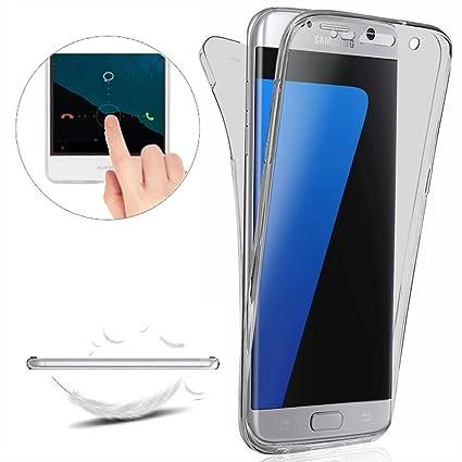 Funda Carcasas para Samsung Galaxy S7 Edge [Cover 360 Grados],Funda Doble Delantera + Trasera Gel Transparente Silicona Integral Shock Absorción Anti ...