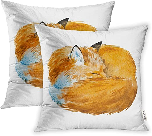 Amazon Com Emvency Set Of 2 16x16 Inch Throw Pillow Covers Cases Orange Sleep Watercolor Of Sleeping Fox Red Curled Up In Ball Cute White Animal Case Cover Cushion Two Sided Home