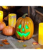 Lights4fun Halloween decoratie LED pompoen 27 cm