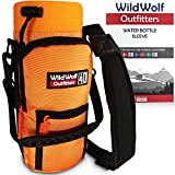 Water Bottle Holder for 40oz Bottles by Wild Wolf Outfitters - Orange - Carry, Protect and Insulate Your Best Flask with This Military Grade Carrier w/ 2 Pockets & an Adjustable Padded Shoulder Strap