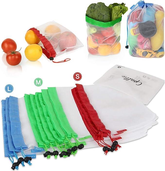Amazon Com Bolsas Reutilizables Para Productos Lavables Bolsas De Compras Con Cordón Ligero Cpallie Eco Friendly See Through Mesh Bag Zero Waste Products Para Frutas Verduras 12 Unidades De 3 Tamaños Clothing
